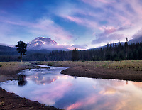South Sister Mountain and Soda Creek at sunrise, Oregon