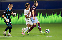 CARSON, CA - SEPTEMBER 19: Cole Bassett #26 of the Colorado Rapids traps the ball during a game between Colorado Rapids and Los Angeles Galaxy at Dignity Heath Sports Park on September 19, 2020 in Carson, California.