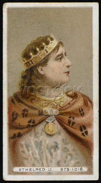 ETHELRED II The Unready  King of England (978-1016) / Unattributed design on a cigarette card / 968? - 1016