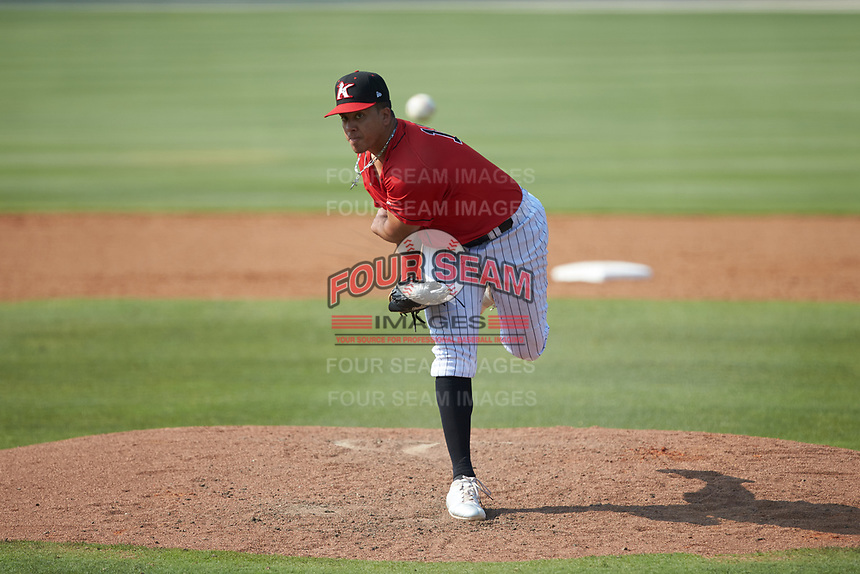 Kannapolis Intimidators relief pitcher Andrew Perez (14) delivers a pitch to the plate against the Hickory Crawdads at Kannapolis Intimidators Stadium on June 2, 2019 in Kannapolis, North Carolina. The Intimidators defeated the Crawdads 4-3. (Brian Westerholt/Four Seam Images)