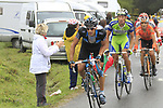 The breakaway featuring Juan Antonio Flecha (ESP) Sky, Kristijan Koren (SLO) Liquigas, Ruben Perez Moreno (ESP) Euskaltel-Euskadi, Rémi Pauriol (FRA) Cofidis, Alexandr Kolobnev (RUS) Katusha, Marcus Burghardt (GER) BMC and Edvald Boasson Hagen (NOR) Sky approach the summit of the Cat 1 climb at Col du Marie Blanque during a wet foggy Stage 17 of the 2010 Tour de France running 174km from Pau to Col du Tourmalet, France. 22nd July 2010.<br /> (Photo by Eoin Clarke/NEWSFILE).<br /> All photos usage must carry mandatory copyright credit (© NEWSFILE | Eoin Clarke)
