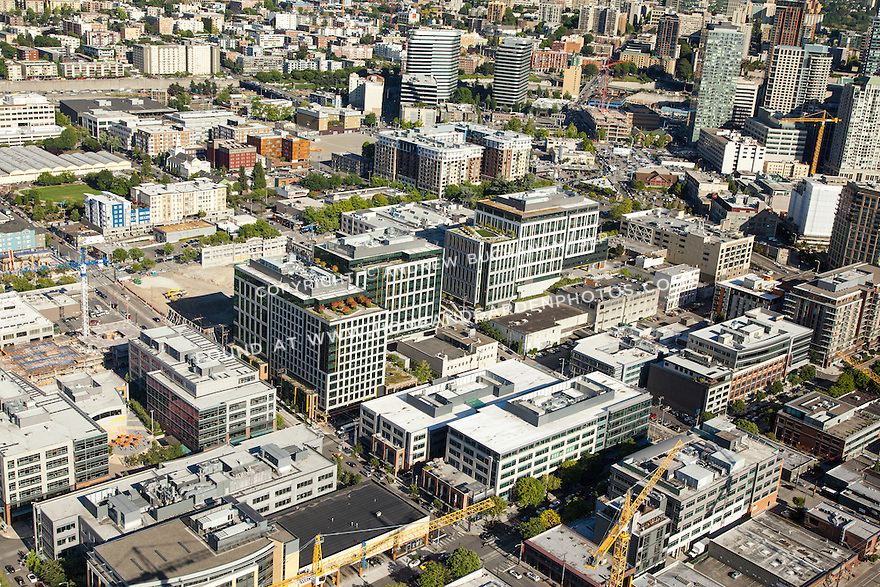 aerial view of Amazon corporate headquarters campus on Terry Avenue N. in Seattle's South Lake Union neighborhood