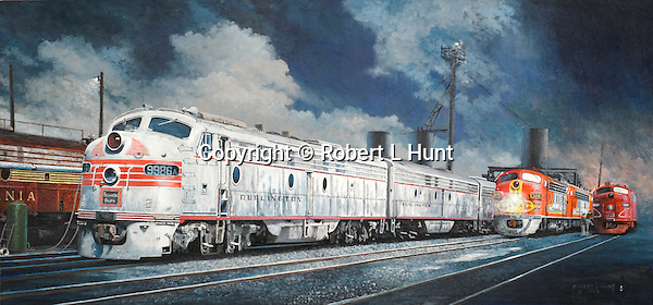 """Diesel F units from the Pennsylvania, Burlington, Santa Fe, and the Rock Island railroads meet at the refueling and sanding servicing racks in Chicago, Illinois. Oil on canvas: 16' x 34""""."""