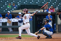 Matt Henderson (24) of the Florida State Seminoles follows through on his swing against the Duke Blue Devils in the first semifinal of the 2017 ACC Baseball Championship at Louisville Slugger Field on May 27, 2017 in Louisville, Kentucky. The Seminoles defeated the Blue Devils 5-1. (Brian Westerholt/Four Seam Images)