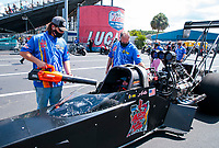 Sep 26, 2020; Gainesville, Florida, USA; A crew member uses a leaf blower to cool NHRA top fuel driver Arthur Allen during qualifying for the Gatornationals at Gainesville Raceway. Mandatory Credit: Mark J. Rebilas-USA TODAY Sports