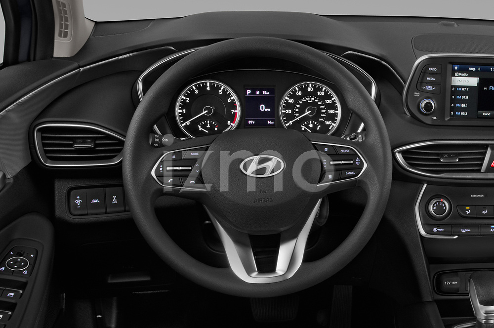 Car pictures of steering wheel view of a 2020 Hyundai Santa-FE SE 5 Door SUV Steering Wheel