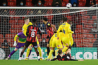 David Brooks of AFC Bournemouth on floor has a shot just over the bar during AFC Bournemouth vs Wycombe Wanderers, Sky Bet EFL Championship Football at the Vitality Stadium on 15th December 2020