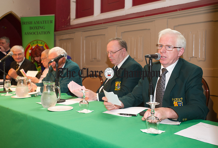 Tommy Lyons of Ennis Boxing club welcomes the delegates and officials to Clare before the Amateur Boxing Association AGM in the Temple Gate Hotel, Ennis. Photograph by John Kelly.