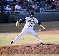 Adam McCreery of the Peoria Javelinas was the winning pitcher in the 2018 Arizona Fall League championship game won by the Javelinas, 3-2 in 10 innings, over the Salt River Rafters at Scottsdale Stadium on November 17, 2018 in Scottsdale, Arizona (Bill Mitchell)