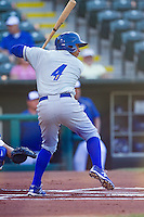 Omaha Storm Chasers third baseman Ramon Torres (4) at bat against the Oklahoma City Dodgers at Chickasaw Bricktown Ballpark on June 16, 2016 in Oklahoma City, Oklahoma. Oklahoma City defeated Omaha 5-4  (William Purnell/Four Seam Images)