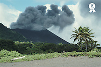 Vanuatu, Tafea, Tanna Island, Ipeukel, smoke coming from Yasur Volcano (Licence this image exclusively with Getty: http://www.gettyimages.com/detail/200387526-001 )