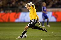 Kansas City Wizards goalkeeper Kevin Hartman (1) sends goal kick downfield during the second half of a MLS match. The LA Galaxy defeated the Kansas City Wizards 3-1 at Home Depot Center stadium in Carson, Calif., on Saturday, May 24, 2008.