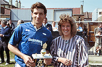 Perry Coney of Barking FC receives the an award prior to the 'home' game against Hendon, played at Leyton-Wingate FC - 05/05/90 - MANDATORY CREDIT: Gavin Ellis/TGSPHOTO - Self billing applies where appropriate - Tel: 0845 094 6026