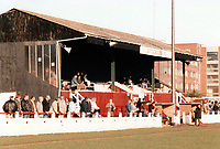 General view of Sittingbourne FC, Bull Ground, Roman Road, Sittingbourne, Kent, pictured on 27th December 1988