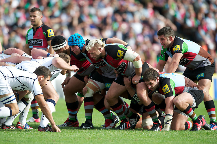 The Harlequins front row of (R-L) Joe Marler, Joe Gray and James Johnston during the Aviva Premiership match between Harlequins and Sale Sharks at The Twickenham Stoop on Saturday 15th September 2012 (Photo by Rob Munro)