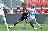 Santa Clara, CA - Sunday July 22, 2018: Alexis Sanchez, Florian Jungwirth during a friendly match between the San Jose Earthquakes and Manchester United FC at Levi's Stadium.