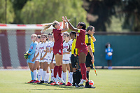 STANFORD, CA - SEPTEMBER 12: Belle Briede and Naomi Girma before a game between Loyola Marymount University and Stanford University at Cagan Stadium on September 12, 2021 in Stanford, California.