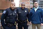 WATERBURY CT. - 15 January 2020-011521SV07-From left, Officer Damian Blocker, Officer Michael Tripp, and Sgt. Steve Pedbereznak of the youth division at the police station in Waterbury Friday.<br /> Steven Valenti Republican-American