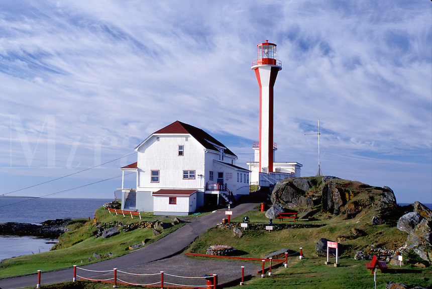 lighthouse, light, Nova Scotia, Yarmouth, NS, Canada, Cape Forchu Lighthouse along the coast in Yarmouth on the Atlantic Ocean.