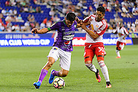 Harrison, NJ - Wednesday Aug. 03, 2016: Jose Pinto Samayoa, Gonzalo Veron during a CONCACAF Champions League match between the New York Red Bulls and Antigua at Red Bull Arena.