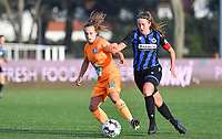 Jasmien Mathys (12 Gent) pictured in a duel with Ellen Martens (2 Brugge) during a female soccer game between Club Brugge Dames YLA and AA Gent Ladies on the sixth matchday of the 2020 - 2021 season of Belgian Scooore Womens Super League , saturday 7 th November 2020  in Knokke , Belgium . PHOTO SPORTPIX.BE | SPP | DAVID CATRY