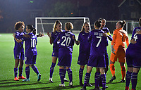 Anderlecht's players pictured before during a female soccer game between Sporting Charleroi and RSC Anderlecht on the third matchday of the 2020 - 2021 season of Belgian Scooore Womens Super League , friday 2 nd of October 2020  in Marcinelle , Belgium . PHOTO SPORTPIX.BE | SPP | DAVID CATRY