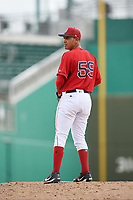 GCL Red Sox starting pitcher Jose Gonzalez (59) gets ready to deliver a pitch during a game against the GCL Rays on August 1, 2018 at JetBlue Park in Fort Myers, Florida.  GCL Red Sox defeated GCL Rays 5-1 in a rain shortened game.  (Mike Janes/Four Seam Images)