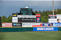 A view of the scoreboard at L.P. Frans Stadium prior to the South Atlantic League game between the Rome Braves and the Hickory Crawdads on May 12, 2016 in Hickory, North Carolina.  The Braves defeated the Crawdads 3-0.  (Brian Westerholt/Four Seam Images)
