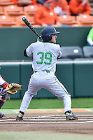 Notre Dame Fighting Irish left fielder Jake Johnson (39) awaits a pitch during a game against the Clemson Tigers during game one of a double headers at Doug Kingsmore Stadium March 14, 2015 in Clemson, South Carolina. The Tigers defeated the Fighting Irish 6-1. (Tony Farlow/Four Seam Images)