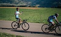 Shahin Eyvazov (AZE) cheering for the bystanders<br /> <br /> MEN JUNIOR ROAD RACE<br /> Kufstein to Innsbruck: 132.4 km<br /> <br /> UCI 2018 Road World Championships<br /> Innsbruck - Tirol / Austria