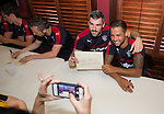 Matt Gilks and Harry Forrester signing autographs for supporters as the team has a meet and greet in the three lions bar at the MUSC Health Stadium in Charleston, South Carolina