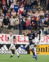 Foxborough, Massachusetts - August 11, 2018: In a Major League Soccer (MLS) match, Philadelphia Union (white) defeated New England Revolution (blue/white), 3-2, at Gillette Stadium.