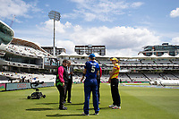 Heather Knight, Nat Scivers and Umpires before the toss during London Spirit Women vs Trent Rockets Women, The Hundred Cricket at Lord's Cricket Ground on 29th July 2021