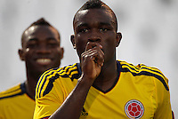 MENDOZA -ARGENTINA- 09-01-2013: John Cordoba, delantero de Colombia celebra el gol durante partido entre los seleccionados de Colombia y Paraguay en el estadio Las Malvinas de Mendoza Argentina, el 09 de enero de 2013. Colombia venció un gol a cero al Paraguay en partido por el Suramericano Sub 20 del grupo A, clasificatorio al mundial en Turquia. John Cordoba, Colombia striker celebrates goal during the match between the teams of Colombia and Paraguay in the stadium Falklands in Mendoza Argentina January 09, 2013. Colombia beat one goal to cero to Paraguay in South American U-20 game for the group A, qualifying to Turkey world cup. (Photo: Photosport/Photogamma / VizzorImage)..
