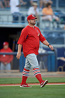 Palm Beach Cardinals pitching coach Will Ohman (13) walks to the mound during a game against the Charlotte Stone Crabs on April 21, 2018 at Charlotte Sports Park in Port Charlotte, Florida.  Charlotte defeated Palm Beach 5-2.  (Mike Janes/Four Seam Images)