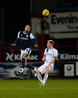 29th December 2020; Dens Park, Dundee, Scotland; Scottish Championship Football, Dundee FC versus Alloa Athletic; Liam Fontaine of Dundee clears from Innes Murray of Alloa Athletic