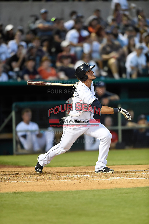 ***Temporary Unedited Reference File***San Antonio Missions designated hitter Alberth Martinez (21) during a game against the Midland RockHounds on April 22, 2016 at Nelson W. Wolff Municipal Stadium in San Antonio, Texas.  San Antonio defeated Midland 8-4.  (Mike Janes/Four Seam Images)