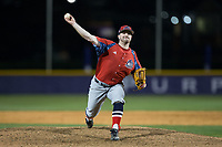 NJIT Highlanders relief pitcher Bryan Haberstroh (7) delivers a pitch to the plate against the High Point Panthers during game two of a double-header at Williard Stadium on February 18, 2017 in High Point, North Carolina.  The Highlanders defeated the Panthers 4-2.  (Brian Westerholt/Four Seam Images)