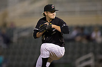 Kannapolis Intimidators relief pitcher Ben Wright (16) in action against the Greensboro Grasshoppers at Kannapolis Intimidators Stadium on September 8, 2017 in Kannapolis, North Carolina.  The Intimidators defeated the Grasshoppers to sweep the South Atlantic League Northern Division playoffs in two games.  (Brian Westerholt/Four Seam Images)