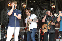The Upbeat Sneakers band perform during the Merthyr Rising Festival 2016 in Merthyr Tydfil on Saturday June 4th and Sunday June 5th 2016. <br /> <br /> <br /> Jeff Thomas Photography -  www.jaypics.photoshelter.com - <br /> e-mail swansea1001@hotmail.co.uk -<br /> Mob: 07837 386244 -