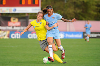 Natasha Kai (6) of Sky Blue FC challenges Allison Falk (3) of the Philadelphia Independence for the ball. Sky Blue FC defeated the Philadelphia Independence 1-0 during a Women's Professional Soccer (WPS) match at Yurcak Field in Piscataway, NJ, on August 22, 2010.