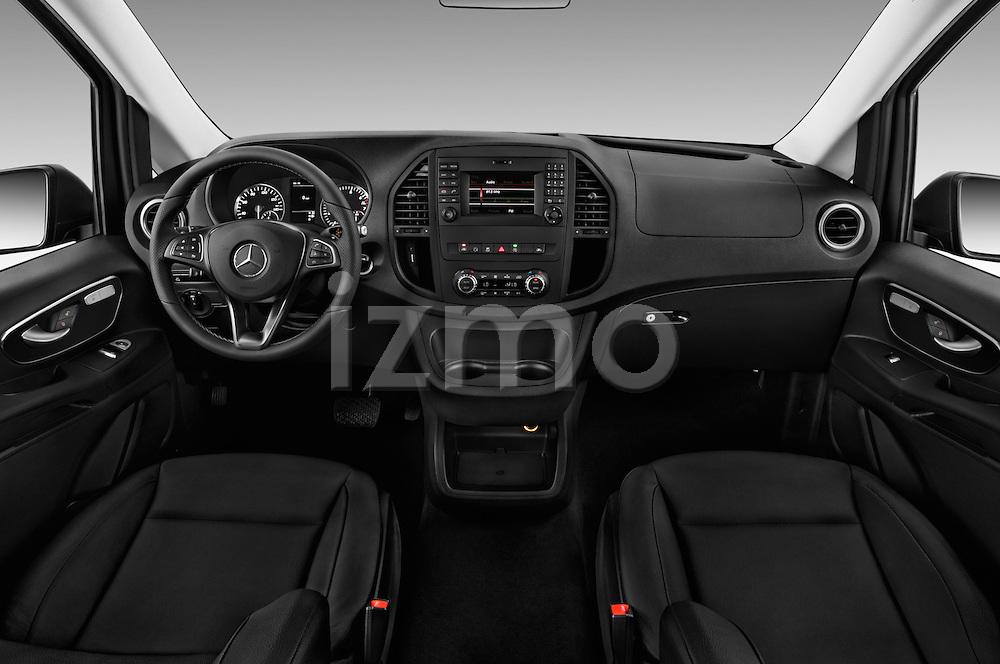 Stock photo of straight dashboard view of 2018 Mercedes Benz Metris Passenger-Van 5 Door Passenger Van Dashboard