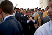 """Ternopol, Ukraine.May 28, 2005 ..People greet Ukraine President Victor Yushchenko as he makes his first visit back to his University (Ternopol Economic University) since the """"Orange Revolution"""" swept him in to office."""