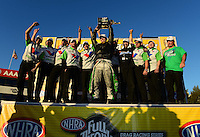 Nov. 11, 2012; Pomona, CA, USA: NHRA funny car driver Jack Beckman celebrates with his crew after clinching the 2012 championship during the Auto Club Finals at at Auto Club Raceway at Pomona. Mandatory Credit: Mark J. Rebilas-