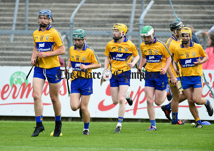 The Clare team warm up before their Munster  championship round robin game at Cusack Park Photograph by John Kelly.