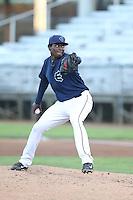 Ramire Cleto #38 of the Everett AquaSox pitches against the Boise Hawks at Everett Memorial Stadium on July 25, 2014 in Everett, Washington. Everett defeated Boise, 2-1. (Larry Goren/Four Seam Images)