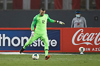 13th October 2020; National Stadium of Peru, Lima, Peru; FIFA World Cup 2022 qualifying; Peru versus Brazil; Keeper  Weverton of Brazil puts the ball out to his defenders