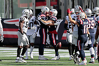 27th September 2020, Foxborough, New England, USA;  New England Patriots running back Rex Burkhead (34) celebrates a touchdown during the game between the New England Patriots and the Las Vegas Raiders
