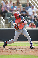 Armond Upshaw (10) of the Hagerstown Suns at bat against the Kannapolis Intimidators at Kannapolis Intimidators Stadium on May 6, 2018 in Kannapolis, North Carolina. The Intimidators defeated the Suns 4-3. (Brian Westerholt/Four Seam Images)