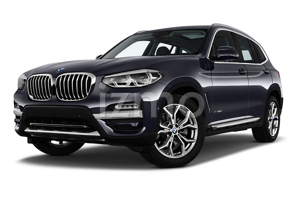Stock pictures of low aggressive front three quarter view of 2018 BMW X3 xLine-4wd 5 Door SUV Low Aggressive